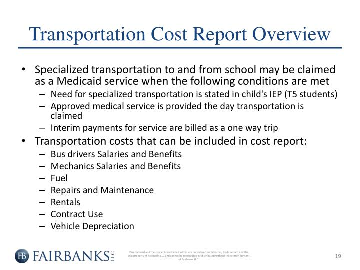 Transportation Cost Report Overview