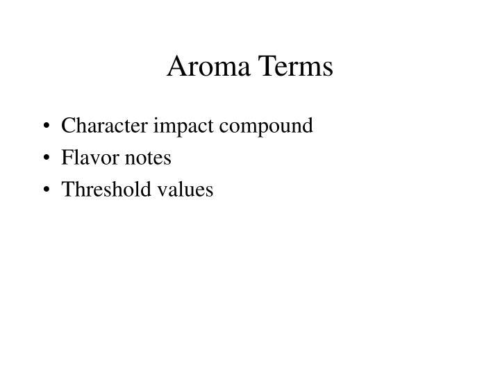 Aroma Terms