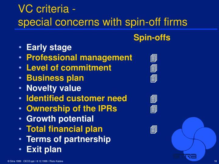 VC criteria -