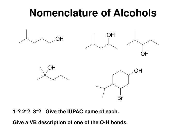 Nomenclature of Alcohols