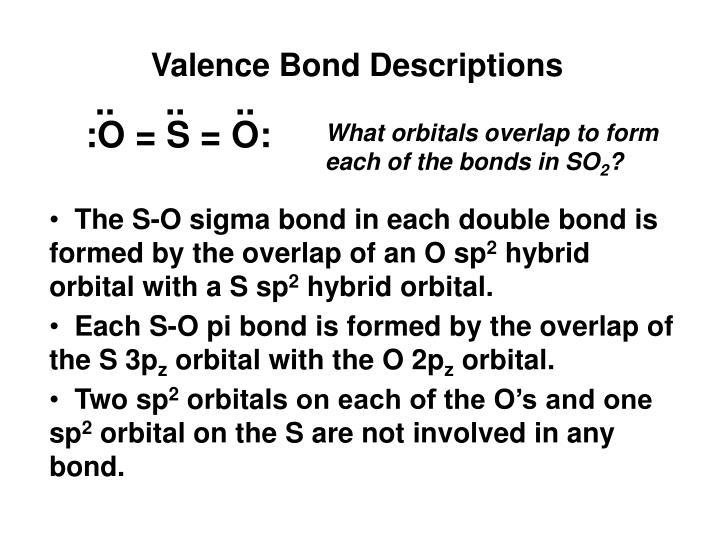 Valence Bond Descriptions
