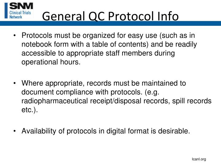 General QC Protocol Info