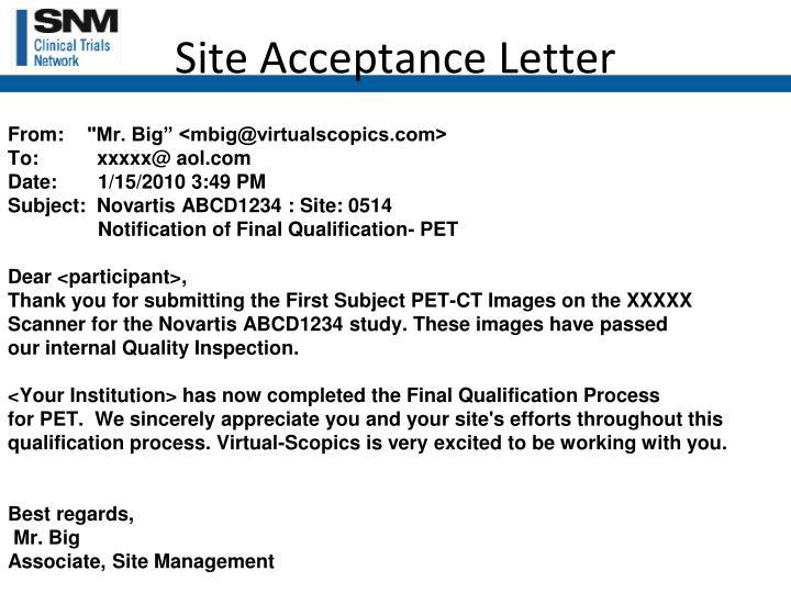 Site Acceptance Letter