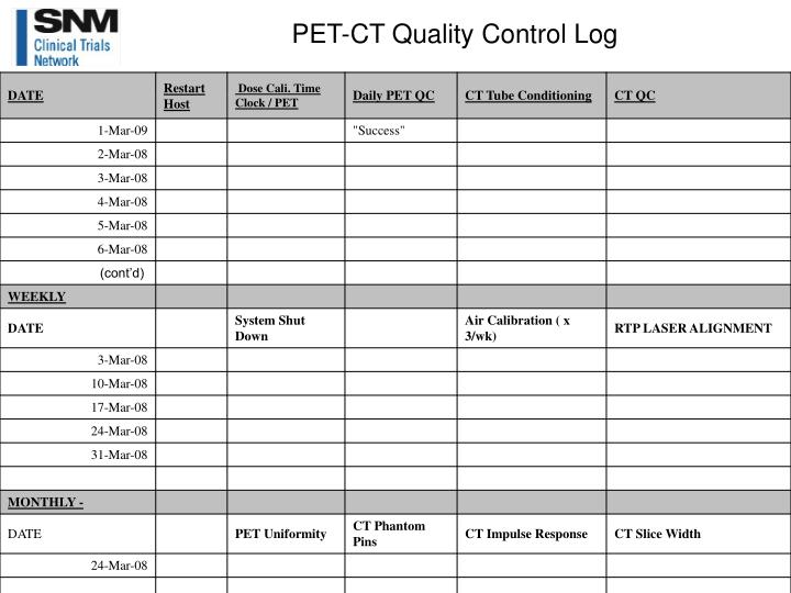PET-CT Quality Control Log