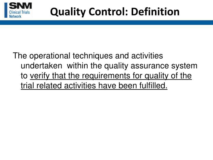 Quality Control: Definition