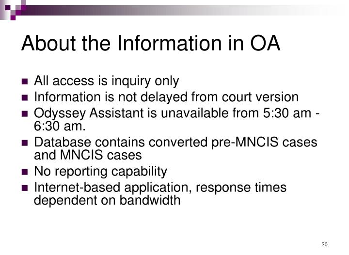 About the Information in OA