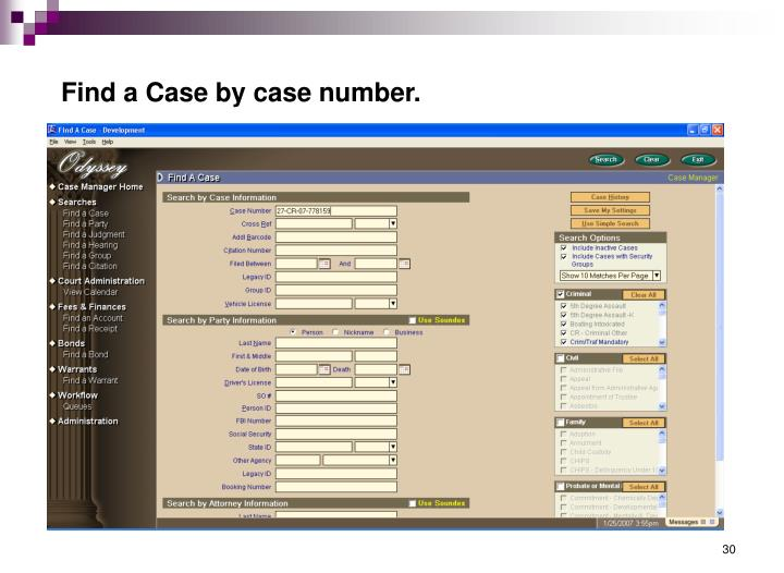 Find a Case by case number.