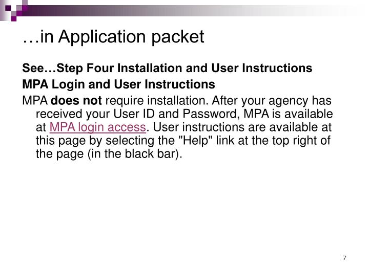 …in Application packet