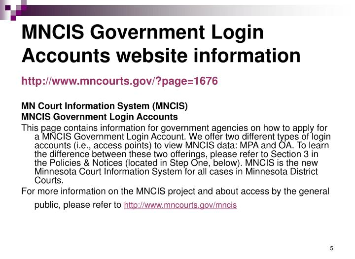 MNCIS Government Login Accounts website information