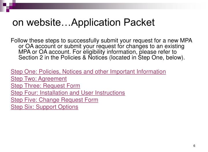 on website…Application Packet