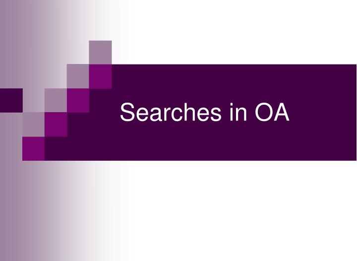 Searches in OA