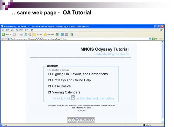 …same web page -  OA Tutorial