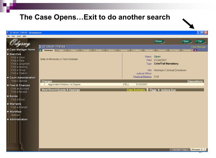 The Case Opens…Exit to do another search