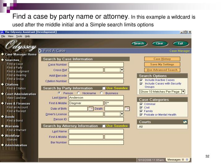 Find a case by party name or attorney