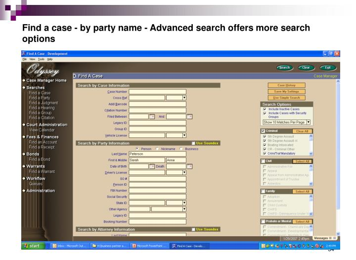 Find a case - by party name - Advanced search offers more search options