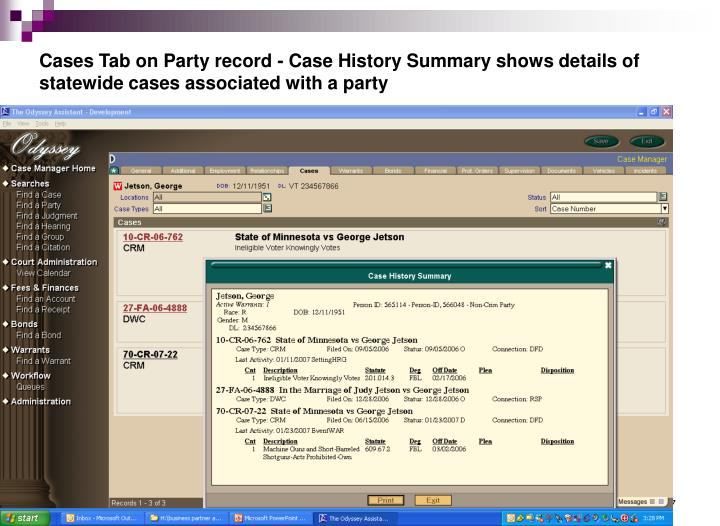Cases Tab on Party record - Case History Summary shows details of statewide cases associated with a party
