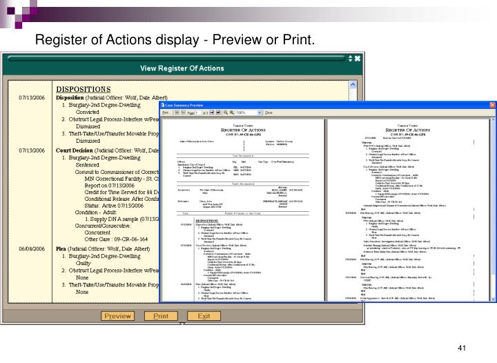 Register of Actions display - Preview or Print.