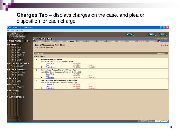 Charges Tab –