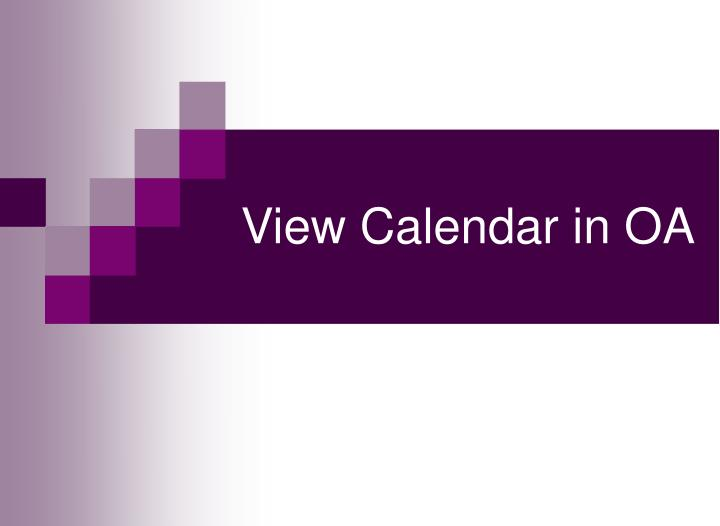 View Calendar in OA