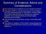 summary of evidence advice and considerations