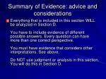 summary of evidence advice and considerations1