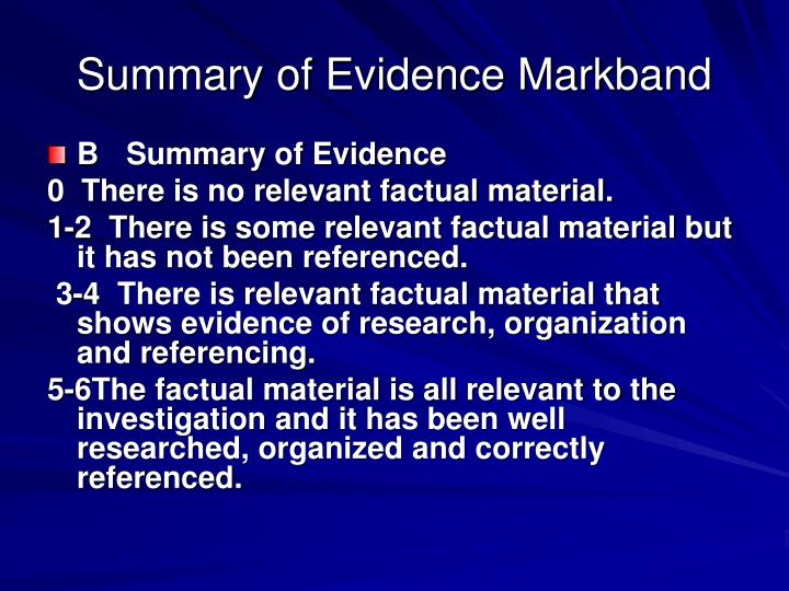 Summary of Evidence Markband