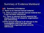 summary of evidence markband
