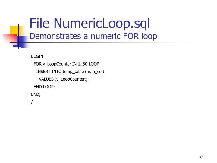 File NumericLoop.sql