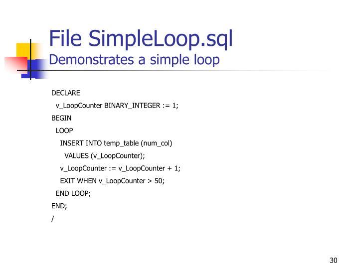 File SimpleLoop.sql