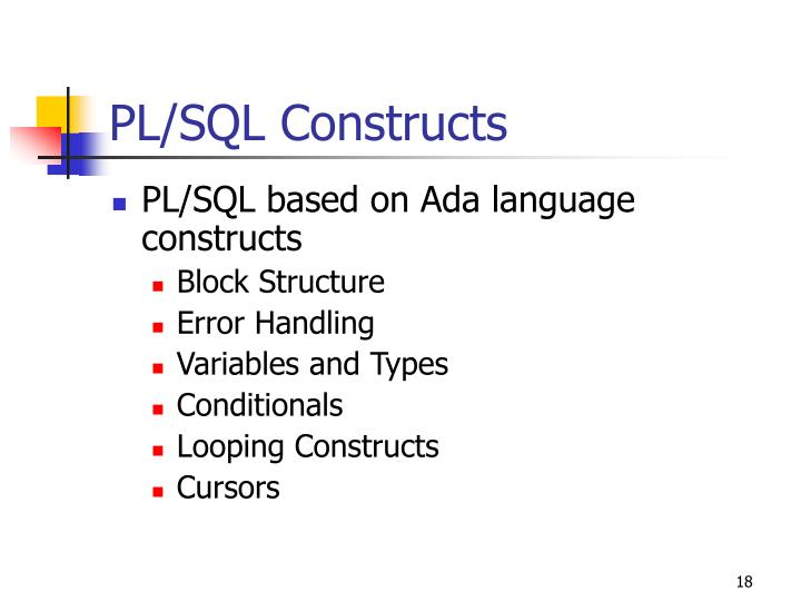 PL/SQL Constructs