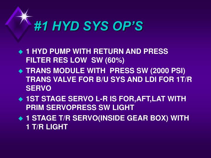 #1 HYD SYS OP'S