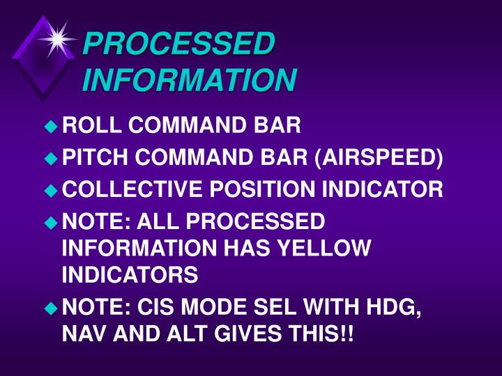 PROCESSED INFORMATION