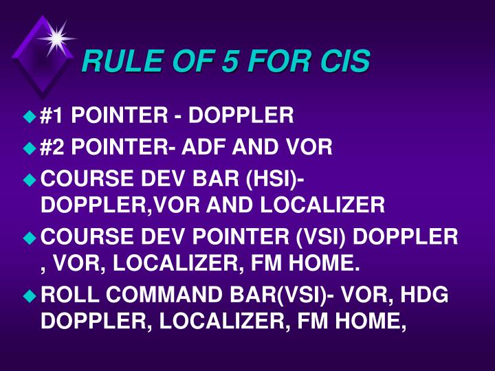 RULE OF 5 FOR CIS