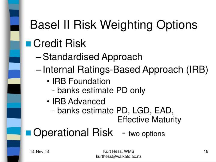 Basel II Risk Weighting Options