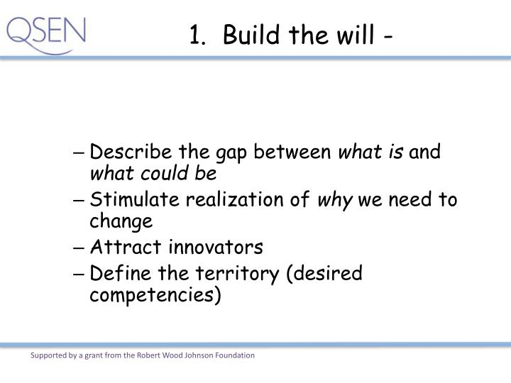 1.  Build the will -