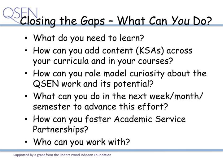 Closing the Gaps – What Can