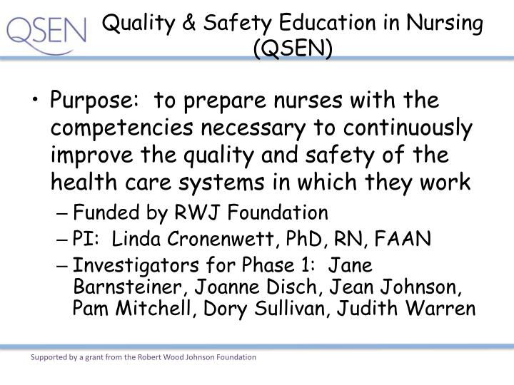 Quality & Safety Education in Nursing (QSEN)