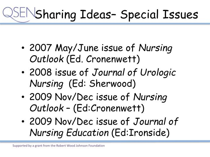 Sharing Ideas– Special Issues