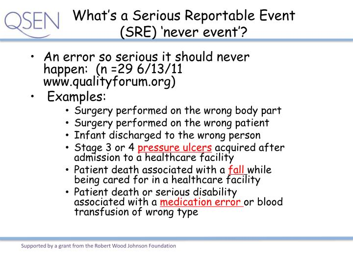 What's a Serious Reportable Event (SRE) 'never event'?