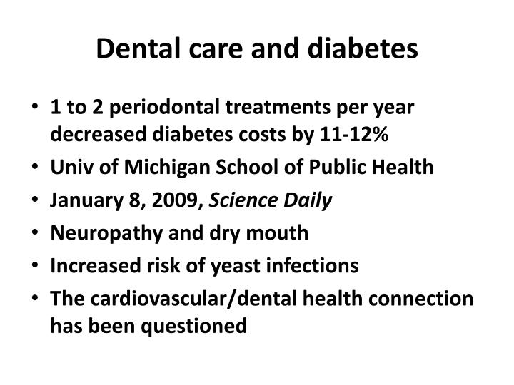Dental care and diabetes