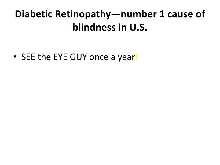 Diabetic Retinopathy—number 1 cause of blindness in U.S.