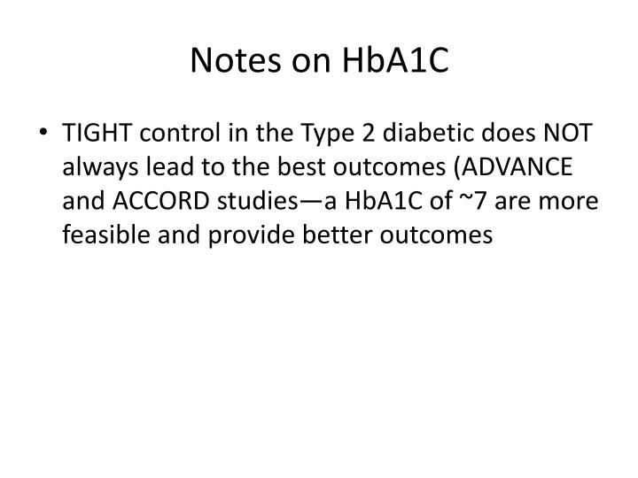Notes on HbA1C
