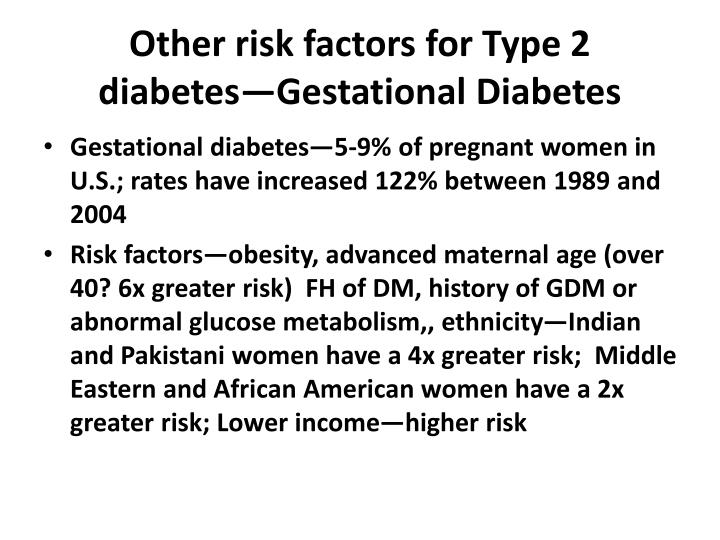Other risk factors for Type 2 diabetes—Gestational Diabetes