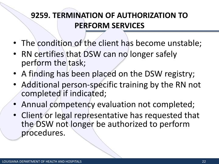 9259. TERMINATION OF AUTHORIZATION TO PERFORM SERVICES