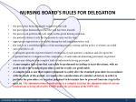nursing board s rules for delegation