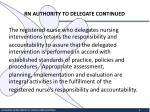 rn authority to delegate continued