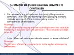 summary of public hearing comments continued4