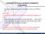 summary of public hearing comments continued6