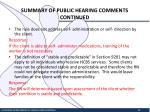 summary of public hearing comments continued7