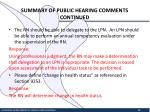 summary of public hearing comments continued8